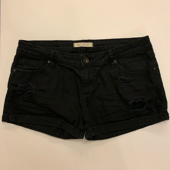 Bullhead Pants - Bullhead Black Distressed Jean Shorts
